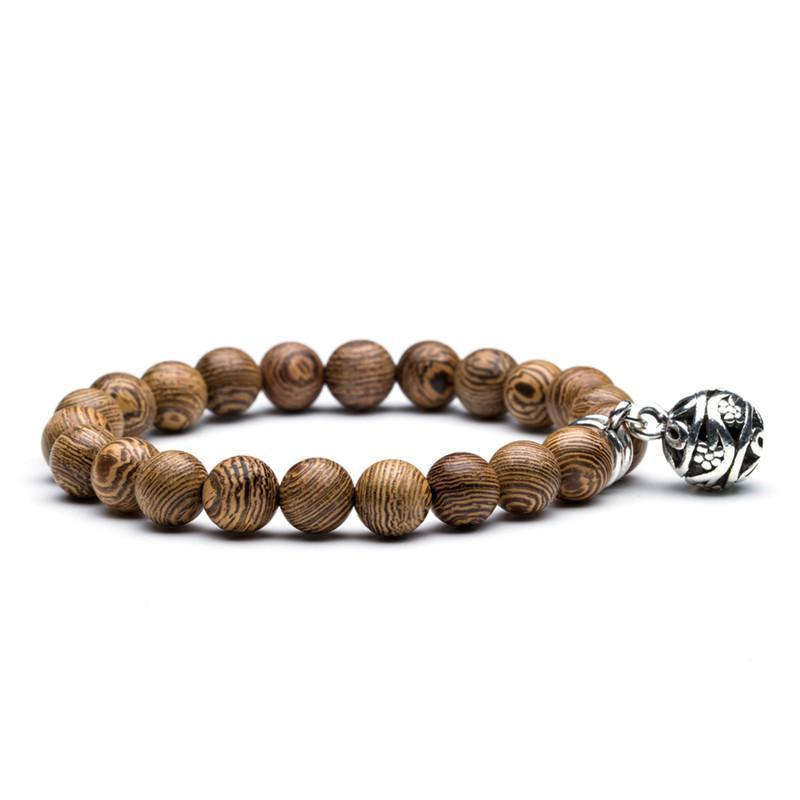 Natural bead bracelets with Wood and Natural stone options bracelet FreshForPandas Sliver Ball
