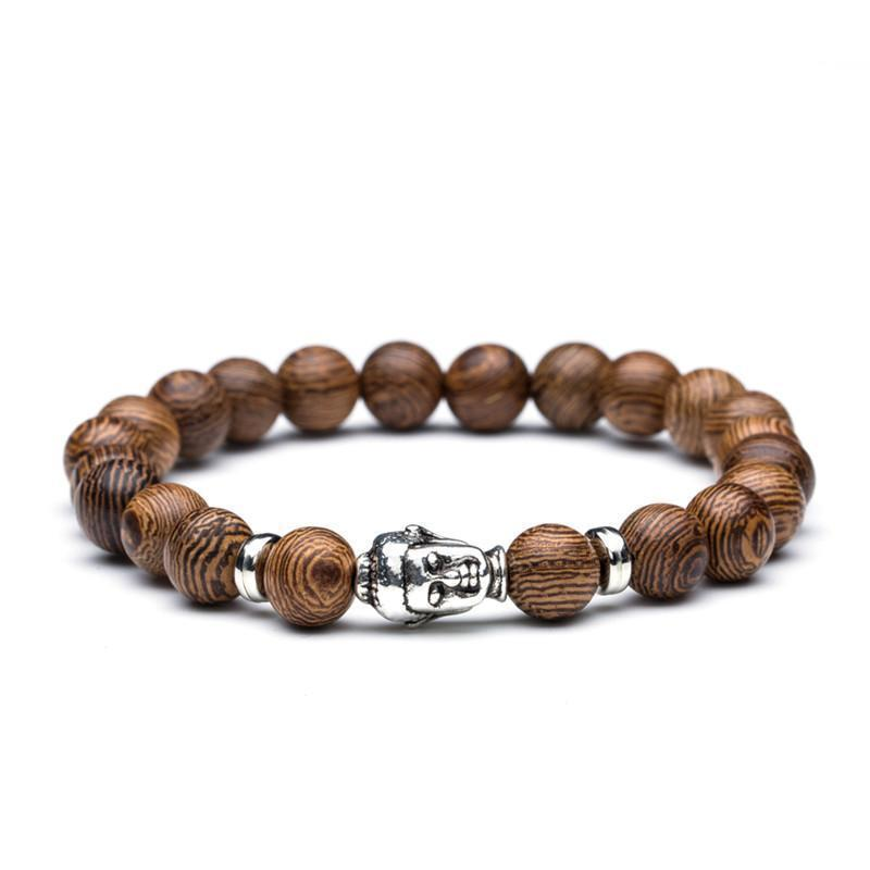Natural bead bracelets with Wood and Natural stone options bracelet FreshForPandas Buddha
