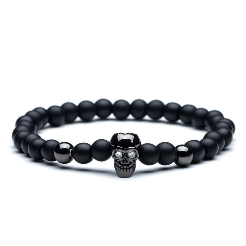 Natural bead bracelets with Wood and Natural stone options bracelet FreshForPandas Black Skull