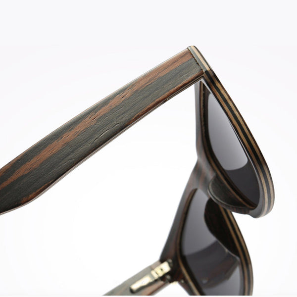 Dark Layered Wood Sunglasses with Stripe Effect, UV400 Polarised Lenses Model 043 Sunglasses FreshForPandas