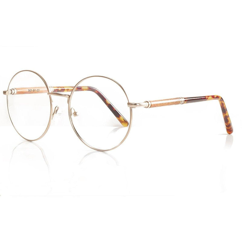 Retro Round Eyeglasses Matte Gold Titanium with bio-plastic eco-friendly tips - TP001-1 Eyeglasses FreshForPandas