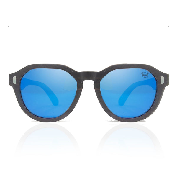 Oval Wooden Sunglasses with Red Detail and Blue Mirrored Lenses Model: 1020 Sunglasses FreshforPandas