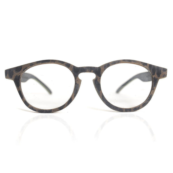 Oval Wooden Eyeglasses with Patterned Mesh Model: 4007 Eyeglasses FreshforPandas