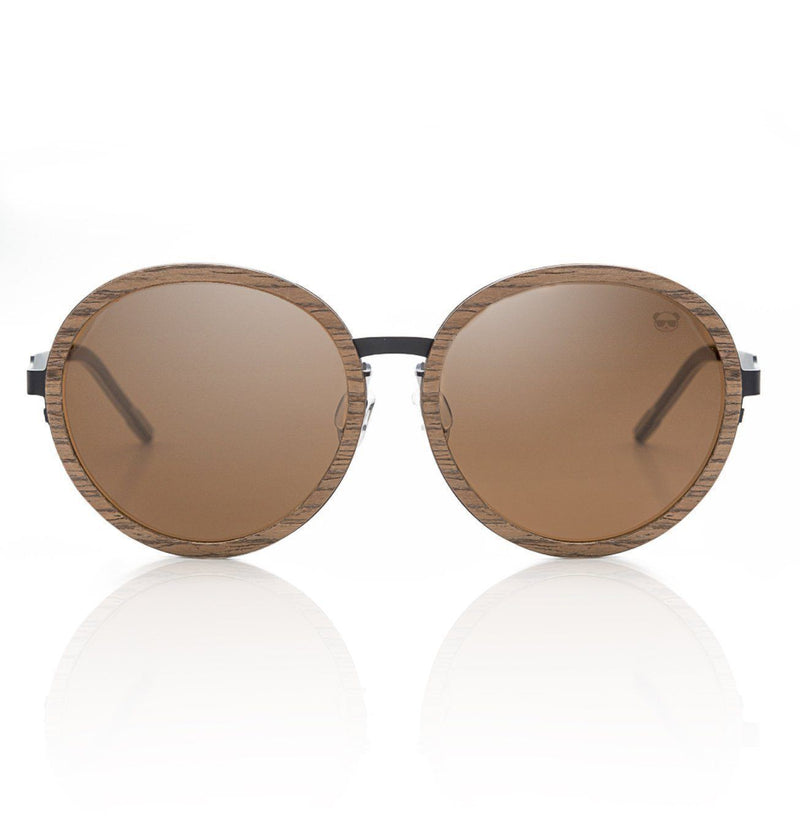 Round Oversize Sunglasses, Dark Striped Frame with Brown UV400 Lenses, Model 3005 Sunglasses FreshforPandas
