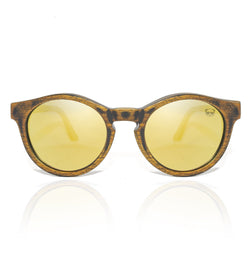 Oval Distressed Wood Sunglasses with Yellow Polarised UV400 Lenses Model: 3094 Sunglasses FreshforPandas