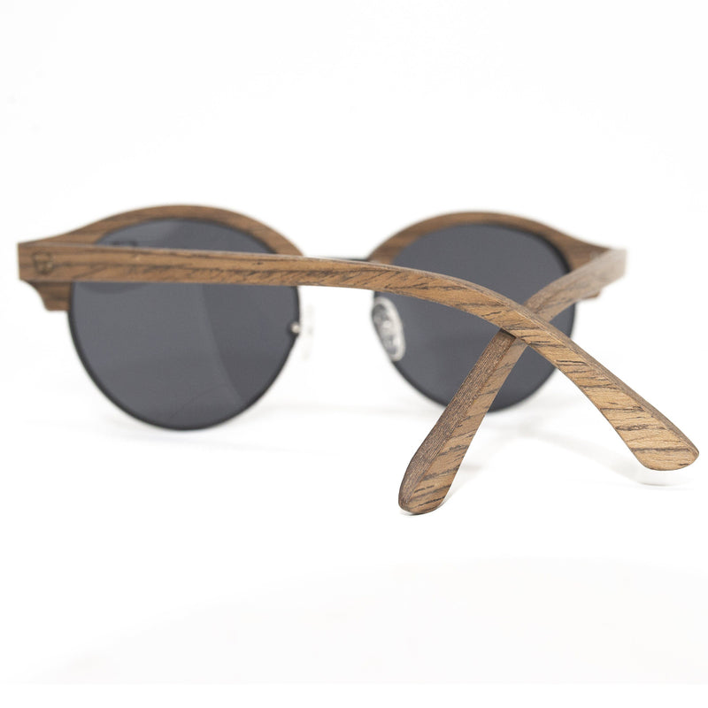Premium Browline Wooden Sunglasses Black metal and Brown Wood Model: 3007 Sunglasses FreshforPandas
