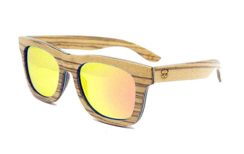 Prescription Wood Sunglasses, Zebra Striped Wood Mirrored Sunglasses Model 045p Prescription Sunglasses FreshforPandas
