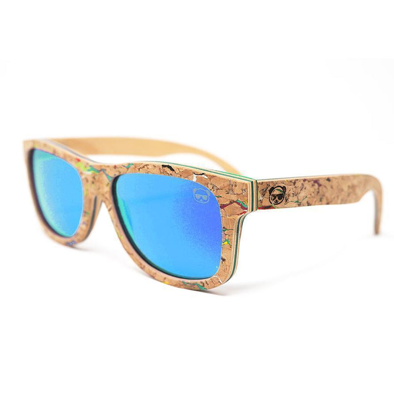 Cork Wayfarer Sunglasses with coloured marble effect Sunglasses FreshForPandas