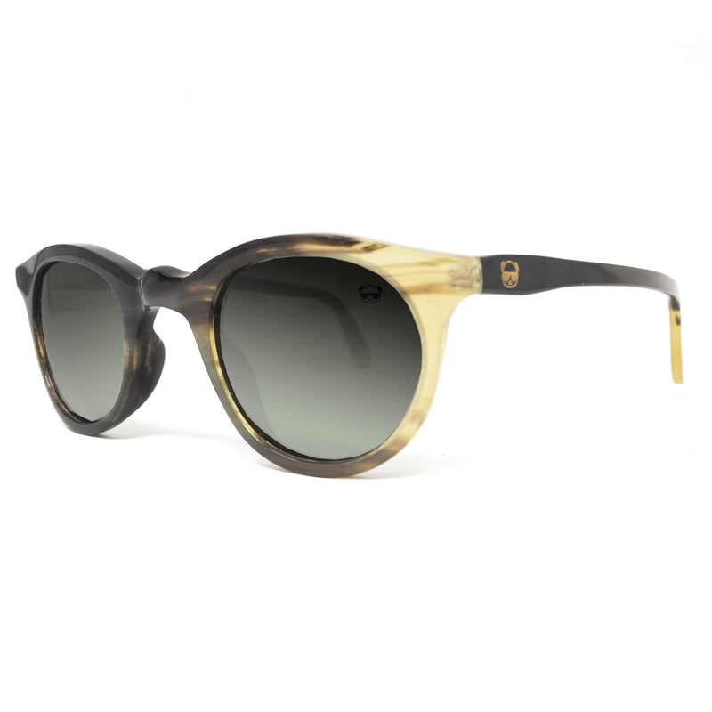 Buffalo Horn Oval Sunglasses Natural Yellow and Brown with Green Tint UV400 lenses Model: 5010 Sunglasses FreshforPandas