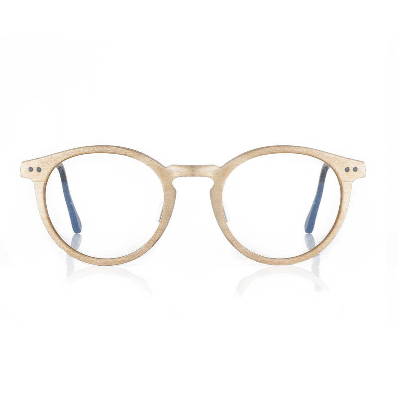 Multi-layered Maple Wood with matte silver titanium temple Oval Eyeglasses - WP001 Eyeglasses FreshforPandas