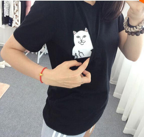 2015 New Summer Hong Kong Fashion Pocket Harajuku cat Lovers Women Top Short-sleeve T shirt  Sweet Style Black/White/Grey