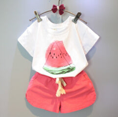Girls Clothing Sets 2018 New Summer Girls clothes Watermelon Pattern Print Kids clothes T-shirt + Red Shorts Children clothing