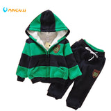 Boys Girls Children Hoodies Winter velvet Sherpa Baby Sports Suit New 2014 Jacket Sweater Coat & Pants Thicken Kids Clothes Sets