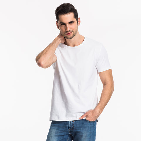 THREEGUN Men Cotton O-Neck Basic T-shirt Short Sleeve  High Elastic Lycra Undershirt Soft Quality Tops Tees For Men White Black