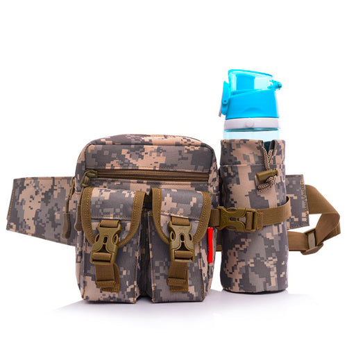 Unisex Bum Waist Bag Sport Fanny Pack Detachable Water Bottle Holder Belt Pouch Tactical Bag Outdoor Travel Military Equipment