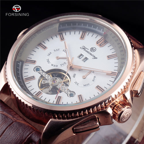 2016 Top Brand FORSINING Tourbillon Automatic Michanical Watches Men Classic Multi-Function Leather Strap Montre Homme