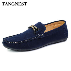 Tangnest Men's Flats Peas Shoes Male Fashion Solid PU Leather Shoes Man Lazy Breathable Slip On Loafers Casual Shoes Man XMR1474