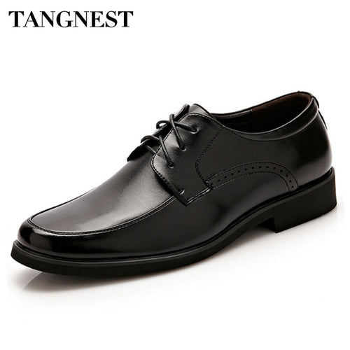 Tangnest New 2017 Men Dress Flats Fashion Round Toe Lace-Up Men Formal Shoes Black Casual Business Shoes Size 38~44 XMP615