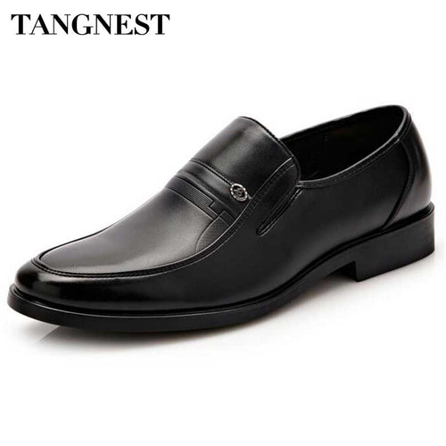 Tangnest Brand Men's Business Shoes 2017 New Penny Loafers For Men Solid Slip-on Platform Flats Pu Leather Dress Shoes XMP734