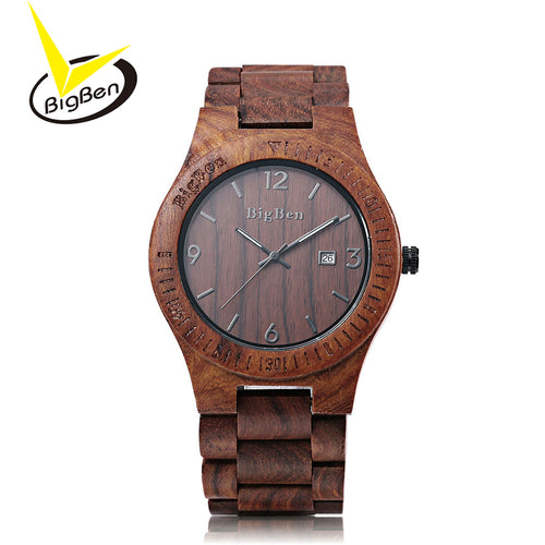 2017 BigBen Luxury Brand Wood Watch Men Analog Natural Quartz Movement Date Male Wristwatches Clock Relogio Masculino