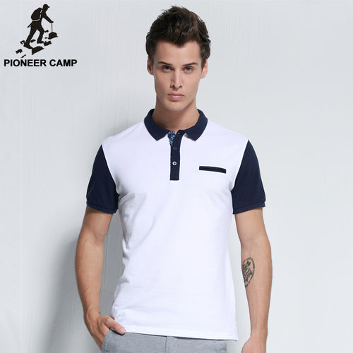 Pioneer Camp 2017 new fashion mens polo shirt brand clothing casual cotton male polos breathable top quality patchwork