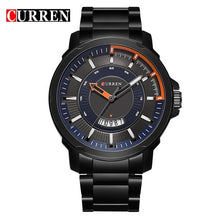Curren Luxury Sport Quartz Watch Fashion Casual Top Brand Military Quartz Wrist Watch Black steel band Clock Man