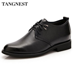 Tangnest Brand Men Oxfords 2017 New Men Dress Elevator Shoes Male Pu Leather 6 CM Increased Shoes Man Flats Size 37~44 XMP744