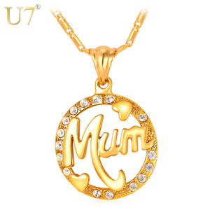 U7 Mothers Day Gifts For Mom Necklace & Pendant Round Rhinestone Crystal Gold Color Women Fashion Name Jewelry Personalized P104
