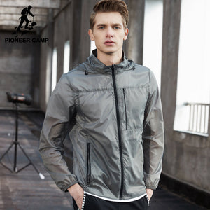 Pioneer Camp New ultra thin jacket men brand clothing ultra light sunscreen coat male top quality breathable soft tops AJK705071