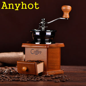 2016 New Hot Sale Cafetera Coffee Mill Wooden And Metal Design Retro Mini Manual Coffee Grinder Hand Handmade Bean Conical Burr