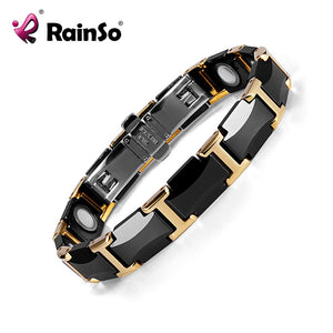 Rainso Black Ceramic Tungsten Steel Charm Magnetic Health Care Link Bracelets for Women with Gold color ORB-216-01BKG