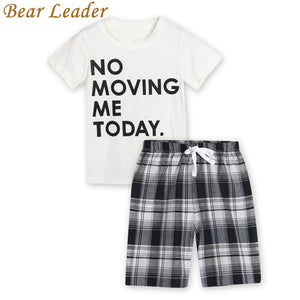 Bear Leader Boys Clothing Sets 2017 Summer Style Kids Clothing Sets White Letter T-shirt+Plaid Shorts 2Pcs for Baby Boys Clothes