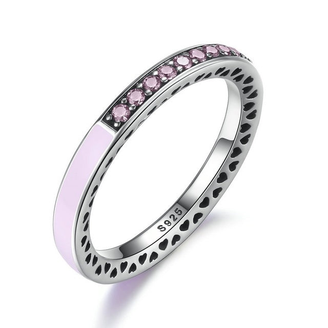 BAMOER 100% 925 Sterling Silver Radiant Hearts, Light Pink Enamel & Clear CZ Finger Ring Women Wedding Jewelry PA7603