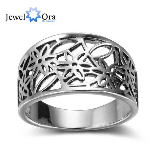 Flower Pattern Hollow Out Fashion Solid 925 Sterling Silver Jewelry Women Rings For Party (JewelOra RI102353 )