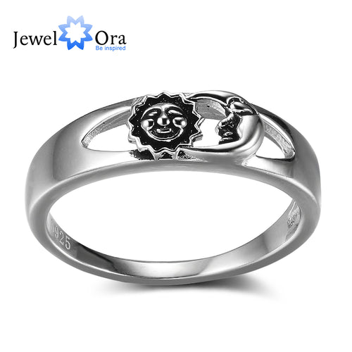 Sun And Moon Fashion Solid 925 Sterling Silver Jewelry Women Rings For Party (JewelOra RI102352 )