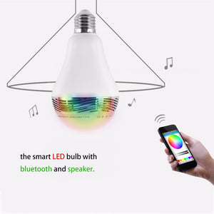 Intelligent E27/B22 5-8W RGB LED Bulb Bluetooth Lamp Colorful Speaker Lights Bulb with Remote Control