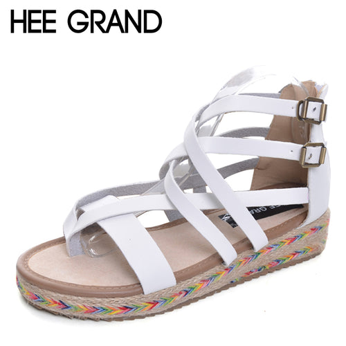 HEE GRAND Platform Gladiator Sandals Summer Flip Flops Creepers Casual Shoes Woman Fashion Zip Flats Women Shoes XWZ2830