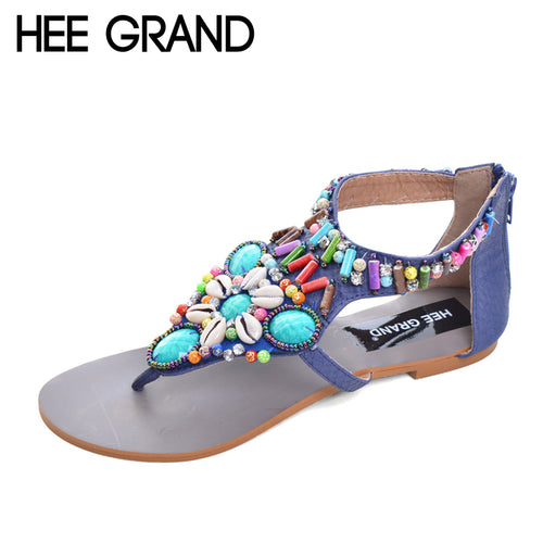 HEE GRAND Vintage Gladiator Sandals Beaded Summer Flats Platform Shoes Woman Slip On Rhinestone Women Shoes Size 35-41 XWZ2078