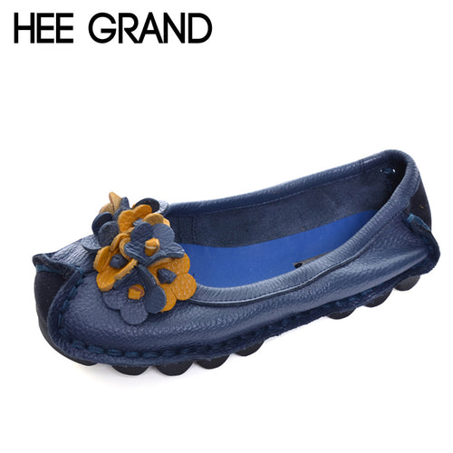 HEE GRAND Genuine Leather Loafers Casual Platform Shoes Woman Slip On Flats Moccasin Comfortable Creepers Women Shoes XWD4523