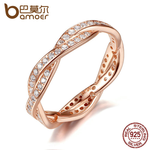 BAMOER Authentic 925 Sterling Silver Twist Of Fate Clear CZ Women Rings Wedding Jewelry Birthday Gift PA7187