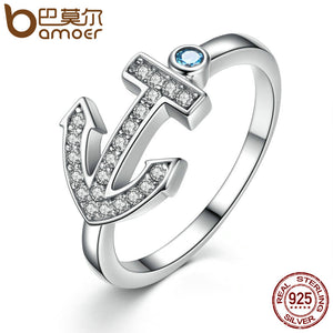 BAMOER 100% 925 Sterling Silver Light Blue Stone Anchor Women Finger Ring Fashion S925 Silver Anniversary Jewelry SCR006