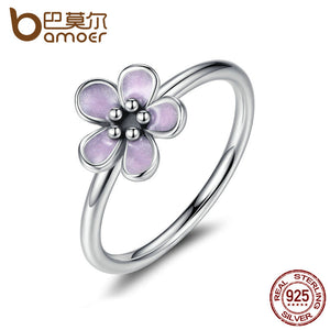 BAMOER Light Purple Elegant 925 Sterling Silver Finger Rings for Women High Quality Engagement Jewelry anelli PA7169