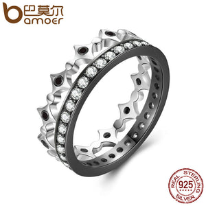 BAMOER 925 Sterling Silver Stackable Ring Freedom Light Clear CZ Geometric Rings For Women Wedding Engagement Jewelry SCR056
