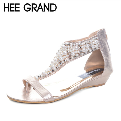 HEE GRAND Gladiator Sandals Summer Style Flip Flops Elegant Platform Shoes Woman Pearl Wedges Sandals Casual Women Shoes XWZ1937