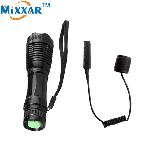 zk50 LED torch CREE XM-L T6 8000 Lumens Torch Adjustable led tactical flashlight for Hunting with a Remote Pressure Switch