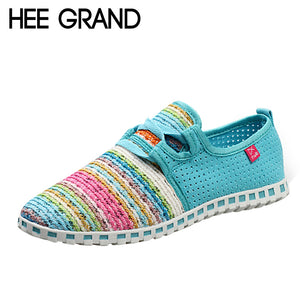 HEE GRAND Summer Flat Shoes Woman Comfortable Casual Lace-Up Flats Breathable Mesh Women Shoes 3 Colors Size 35-40 XMF263