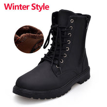 Merkmak Tactical Waterproof Winter Warm Snow Boots Men Vintage Leather Motorcycle Ankle Martin High Cut Male Casual Ankle Boots