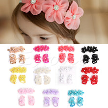 3pcs/set Ba by Girl Kids Barefoot Sandals Shoes Headband Crystal Rhinestone Flower Foot Band