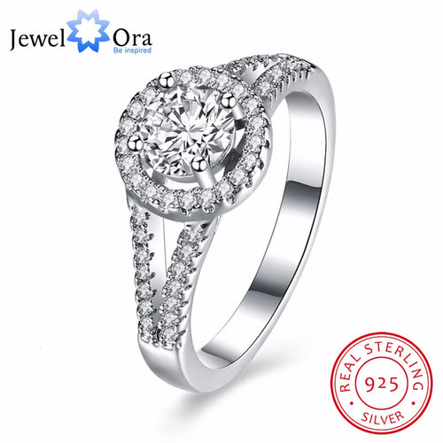 Solid 925 Sterling Silver Wedding Ring Luxurious Design Round CZ Female Fashion Jewelry Rings For Women (JewelOra RI102646)