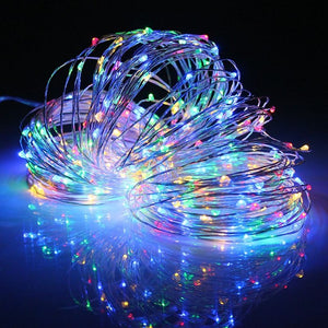 Waterproof IP67 Solar Power Silver Wire 32M 300 LED String Light Christmas Colorful LED String Fairy Light Wedding Outdoor Lamp